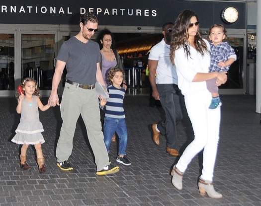 Matthew McConaughey & Family Arriving On A Flight At LAX