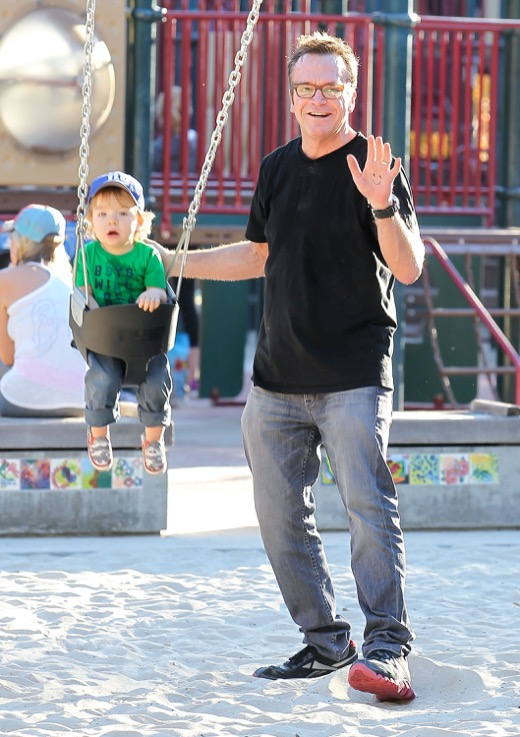 Tom Arnold Gives Jax a Swing on Father-Son Day