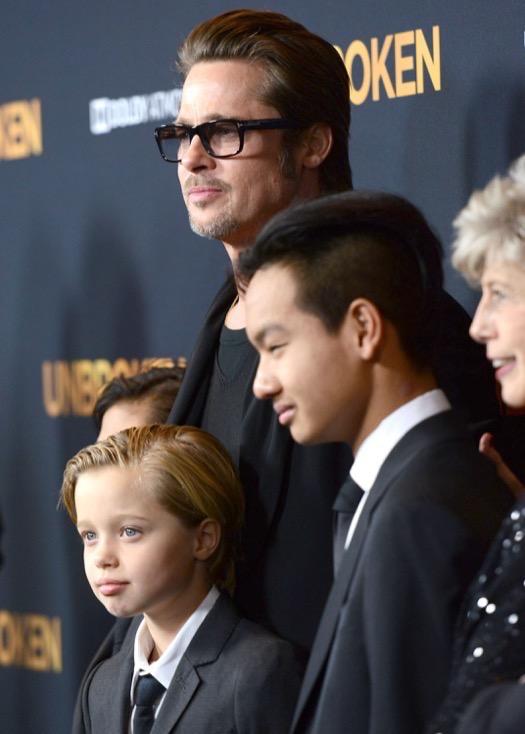 Brad Pitt, Maddox, Pax & Shiloh Attend the Unbroken Premiere
