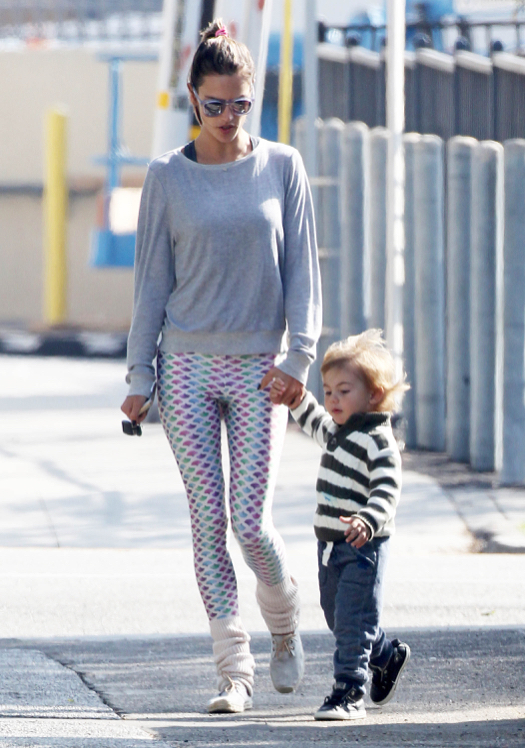 Alessandra Ambrosio Goes Retro While Out With Noah