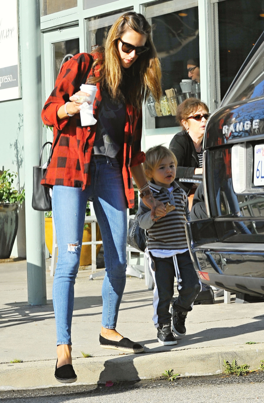 Exclusive... Alessandra Ambrosio Getting Coffee With Her Son Noah