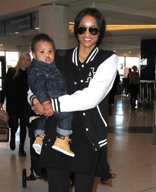Ciara Catches A Flight At LAX With Her Son