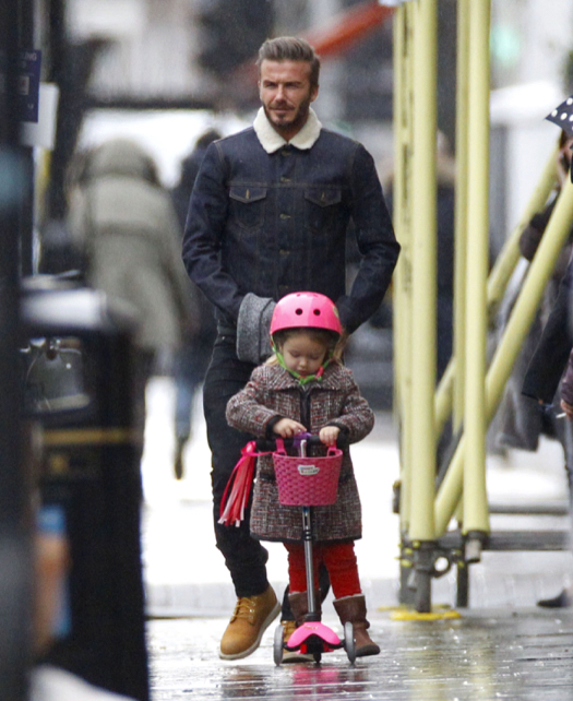 David Beckham Enjoys Rainy Day With Harper