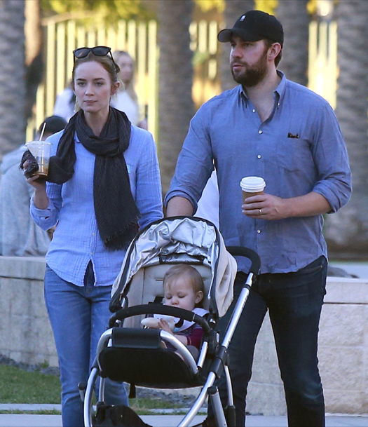 Exclusive... Emily Blunt & John Krasinski Take Hazel Out For Lunch And To A Museum