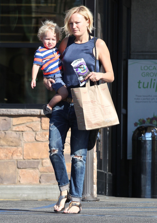 Malin Akerman & Son Sebastian Grocery Shopping At Gelson's Market