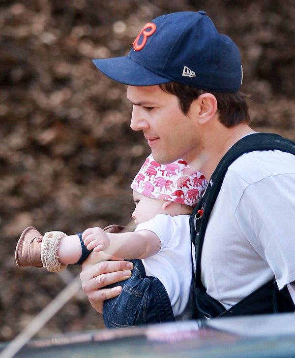 Semi-Exclusive... Ashton Kutcher Takes His Baby Girl Out For A Hike