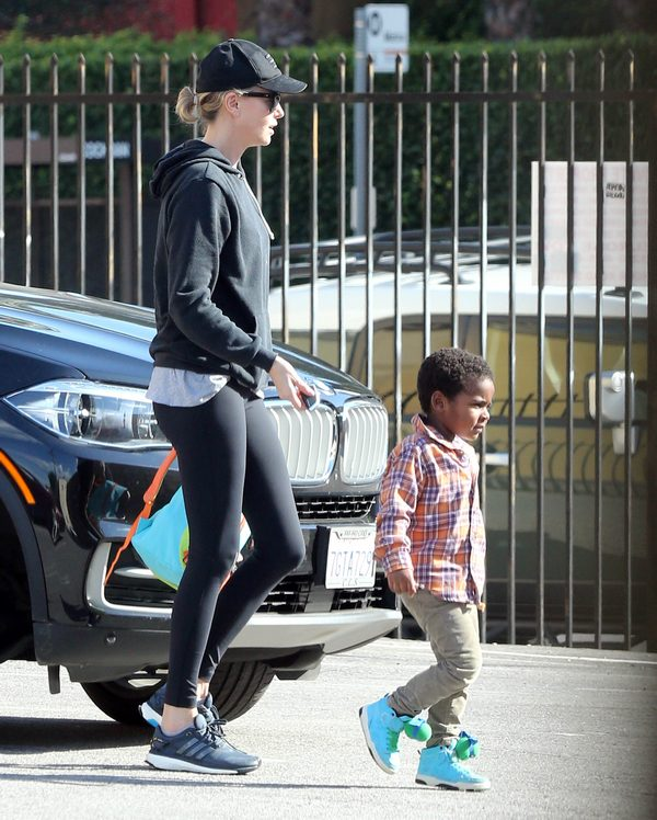 Exclusive… Charlize Theron Picks Jackson Up From Dance Class