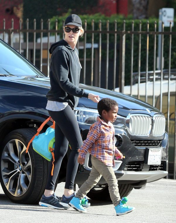 Exclusive... Charlize Theron Picks Jackson Up From Dance Class