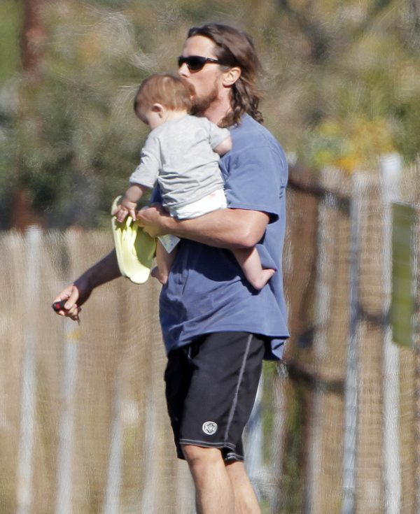 Exclusive… Christian Bale Stops To Visit A Friend's House With His Baby Boy