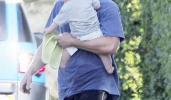 Exclusive... Christian Bale Stops To Visit A Friend's House With His Baby Boy