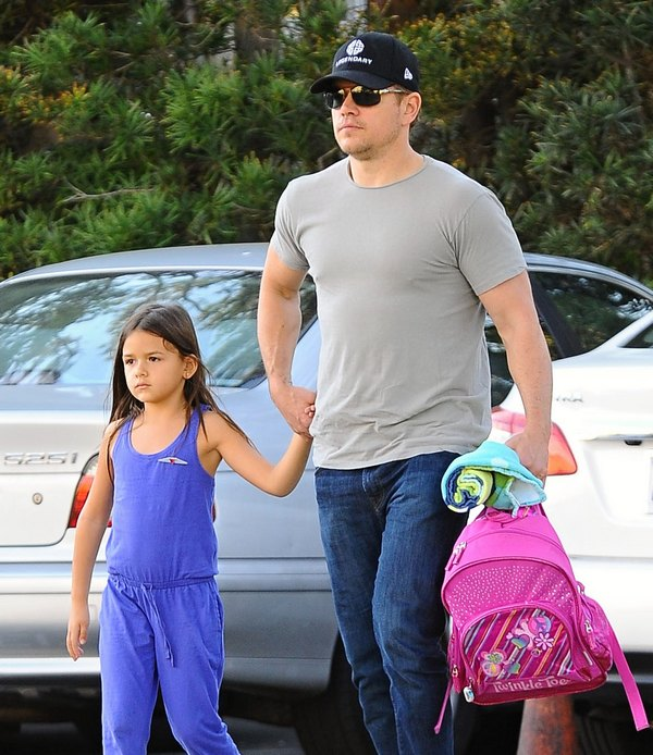 Matt Damon Takes His Daughter To A Playdate