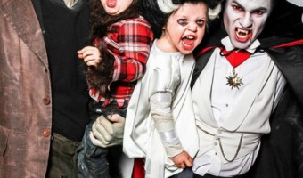 Neil Patrick Harris, David Burka, and twins Halloween Photo