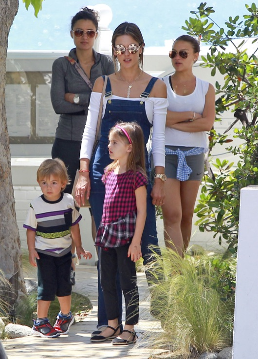 Exclusive... Alessandra Ambrosio Out For Brunch With Her Kids