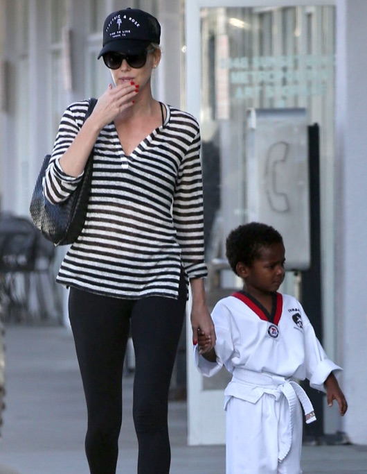 Exclusive... Charlize Theron Takes Jackson To His Karate Class