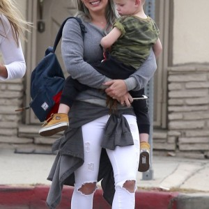 Hilary Duff Takes Luca Out For Breakfast With Friends