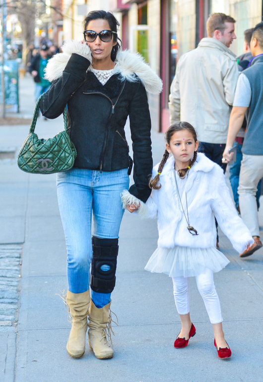 Injured Padma Lakshmi & Daughter Out And About In NYC