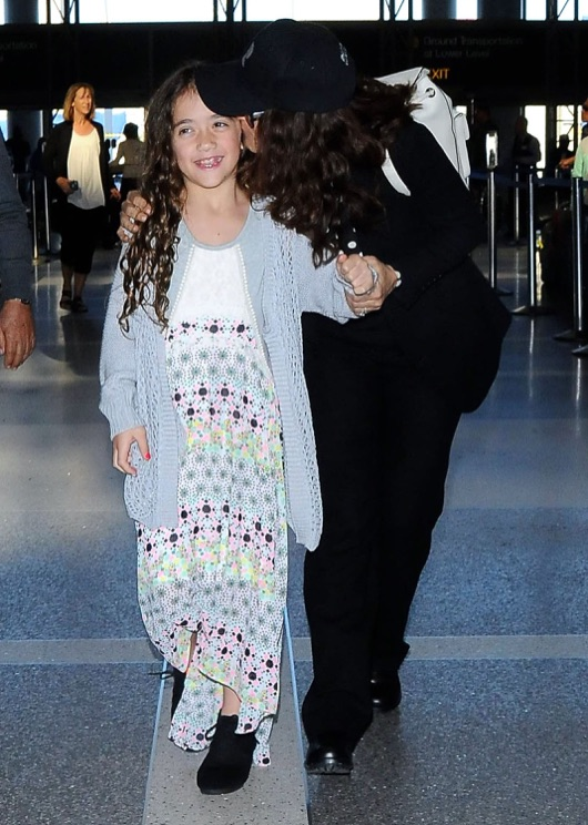Salma Hayek & Daughter Departing On A Flight At LAX