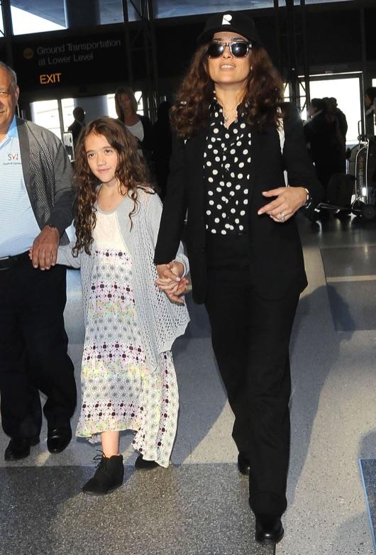 Salma Hayek & Daughter Departing On A Flight At LAX | Celeb
