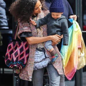 Thandie Newton Catches A Cab In NYC With Her Son