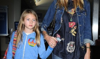 Heidi Klum & Daughter Leni Arriving On A Flight At LAX
