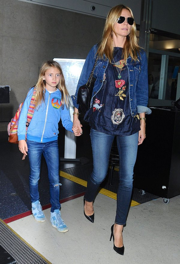 Heidi Klum and Daughter Leni Return from Germany In Style