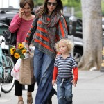 Neve Campbell Takes Son Caspian to the Farmer's Market