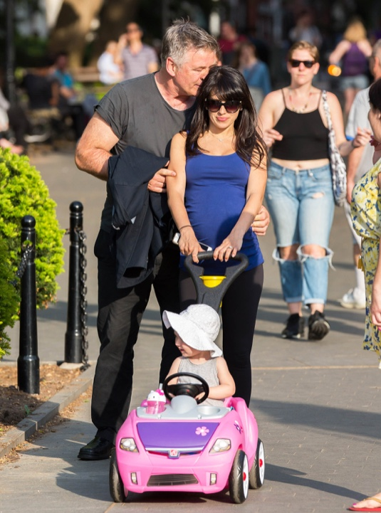 Alec Baldwin Enjoys Washington Square Park With His Family