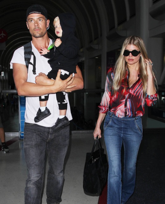 Fergie & Josh Duhamel Return To Los Angeles With Their Son