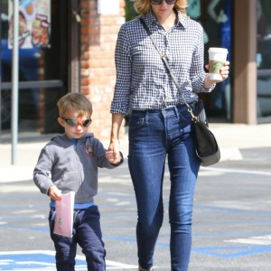 January Jones Makes A Starbucks Run With Xander