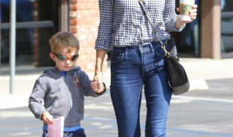 January Jones Makes a Coffee Stop With Xander