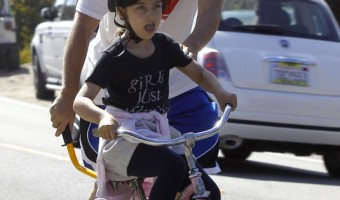 Adam Sandler Teaches Daughter How to Ride a Bike