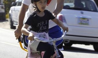 Adam Sandler Teaches Daughter How to Ride a Bike