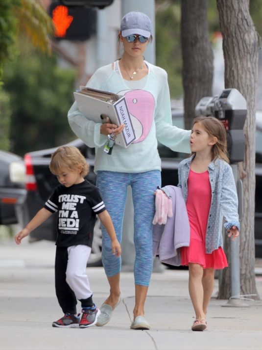 Exclusive... Alessandra Ambrosio Takes Her Kids To A Party