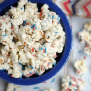 Indepdence Day Funfetti White Chocolate Popcorn