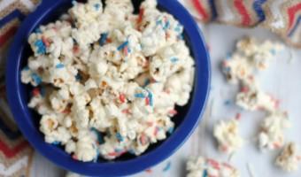 Patriotic Funfetti White Chocolate Popcorn