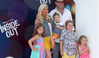Tori Spelling & Family Attend Disney Pixar's Inside Out Premiere