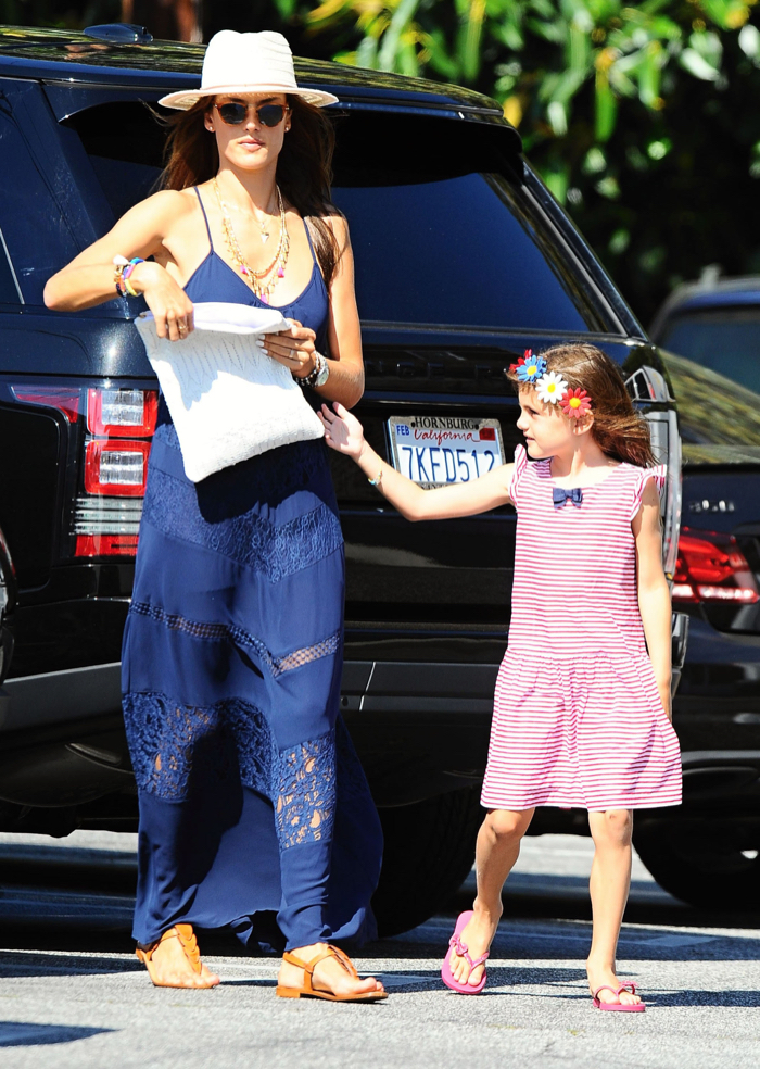 Alessandra Ambrosio & Daughter Shopping In Brentwood