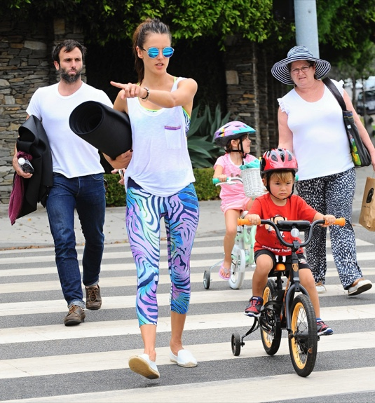 Alessandra Ambrosio & Family Out For Lunch After Her Yoga Class