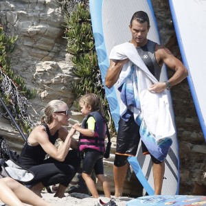 Exclusive... David Chokachi  Enjoys A Day On the Beach With His Family