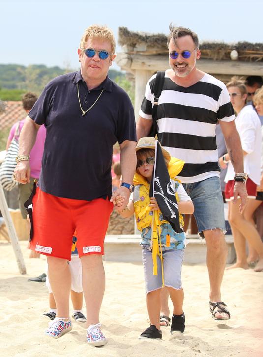 Elton John & David Furnish Vacation In Saint-Tropez