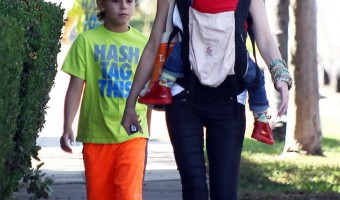 Gwen Stefani All Smiles With Sons Kingston, Zuma, and Apollo During Church Trip