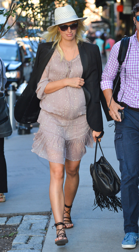 Pregnant Karolina Kurkova Out And About In NYC