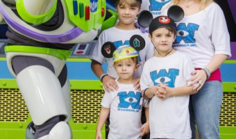 Melissa Joan Hart & Family Pose With Buzz Lightyear
