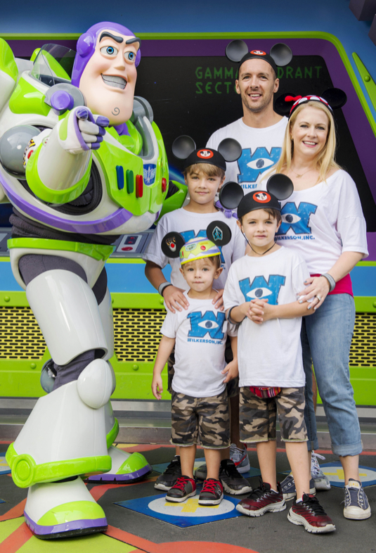 Melissa Joan Hart & Family Pose With Buzz Lightyear