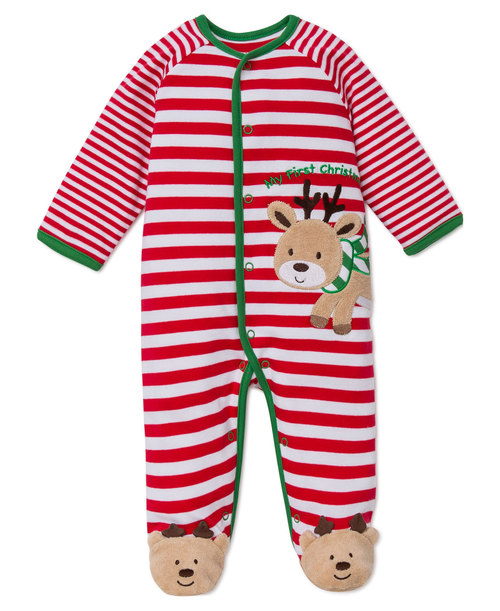 My First Christmas Reindeer Stripe Footie