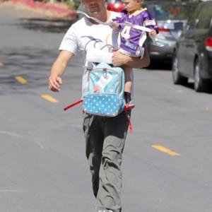 Josh Duhamel Leaving The Park With His Son