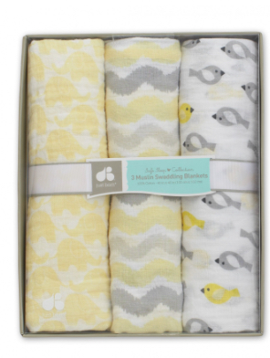 Just Born Yellow Bird 3-pack Muslin Swaddle Blanket