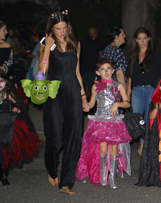 Alessandra Ambrosio Takes Her Children Trick-Or-Treating