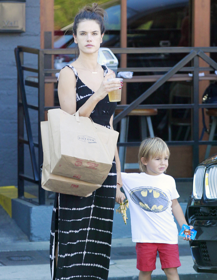 Exclusive... Alessandra Ambrosio Lunches With Her Son