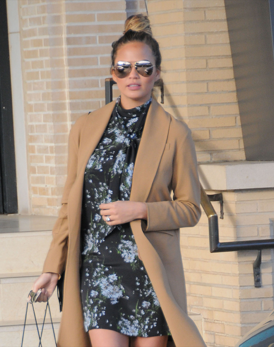 Pregnant Chrissy Teigen Out Shopping In Beverly Hills